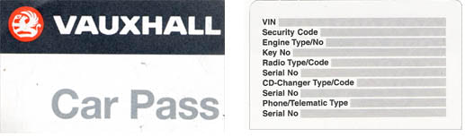 codes for replacing vauxhall car keys