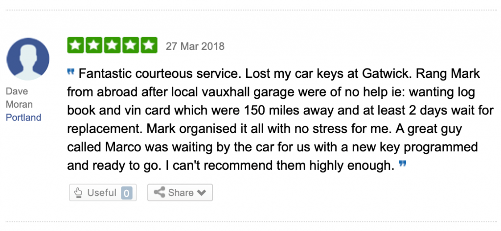 Review of Vauxhall key cutting London